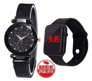Ladies Wrist Watch+ Mens smart Watch Combo Offer-Black