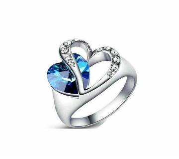 heart shaped silver plated ladies finer ring