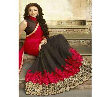 Soft Weightless Georgette Embroidery Work Saree with Blouse  for Women