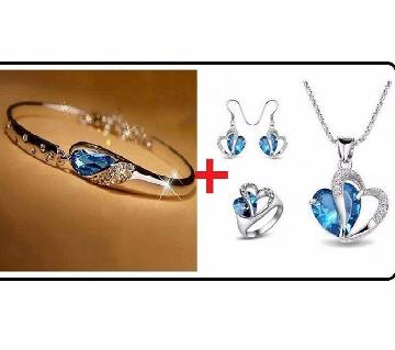 Blue stone setting jewelry set