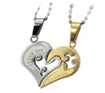 valentine coupple pendent silver and golden