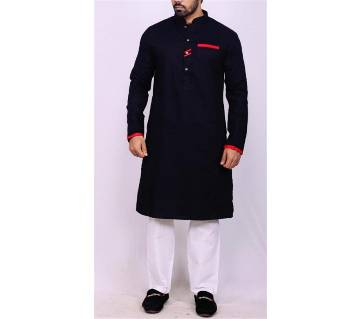 Black Colored Red Striped Cotton Punjabi