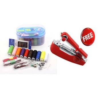 Sewing kit box, 50 pieces sewing materials, with mini sewing machine free