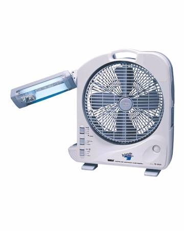 "12"" Dual Battery Rechargeable Fan With Light"