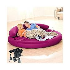 Inflatable Round Sofa With Pumper - Purple