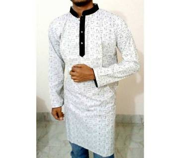 Gents semi long printed cotton punjabi