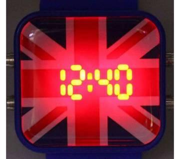 England Theme Silicon Belt LED Wrist Watch