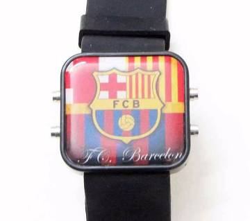 Barcelona Theme Silicon Belt LED Wrist Watch