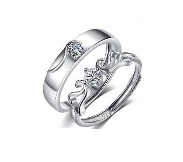 Couple Rings Silver-color Wedding Rings For Lovers Jewelry Austrian Crystal Jewelry Rings