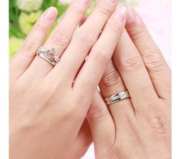 Silver Alloy Crown Couple Finger Ring