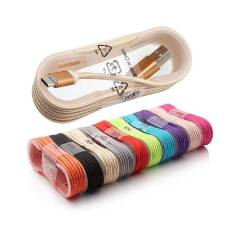 Nylon Data USB Charging Cable Line For Smart Phones - Multicolour