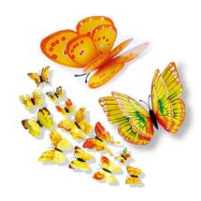 12 Pcs 3D Double Wings Butterfly Wall Stickers