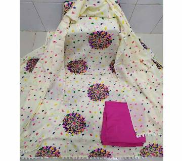 Unstitched Stylish Regular Design Pure Cotton Print Three-Pcs
