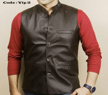 Black Artificial Leather koti for men