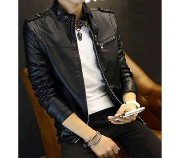 Gents Full Artificial Leather Jacket -  Vip10 Black