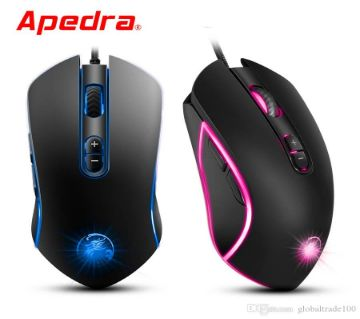Apedra A6 Gaming Mouse Wired USB Game Mice 7 Button 3200DPI Left Right Hands Ergonomic Optical Gamer Mouse