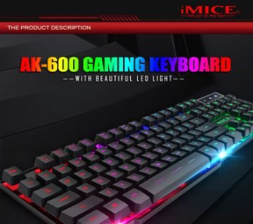 IMICE AK-600 WIRED USB FLOATING KEYCAP CHARACTERS GLOW BACKLIT GAMING KEYBOARD (BLACK)