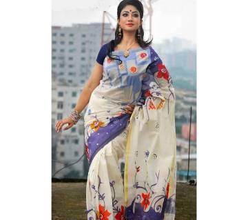 Cotton cota hand print sari