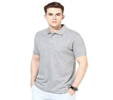 Grey Cotton Polo-Shirt For Men
