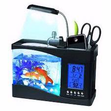 USB Desktop Mini Aquarium With LCD Clock