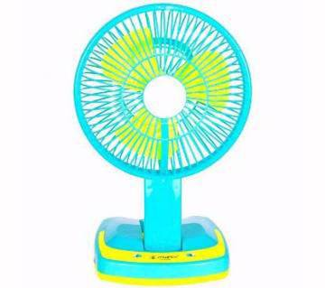 Rechargeable folding table fan with LED light