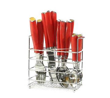 24 Piece Spoon Set - Red