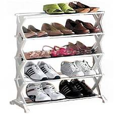 Folding Shoe Rack - White