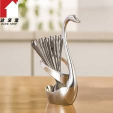 Silver Plated Spoon Set with Swan Stand - Silver