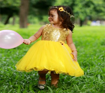 Yellow back bow Designer gown For (8 month to 7 years girl )