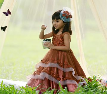Flowers Princess Designer Gown for baby girl