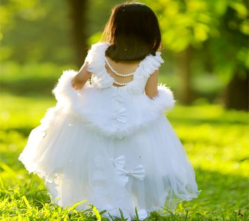 White Angel Stunning Designer Gown for baby Girl(7-12 years Old)