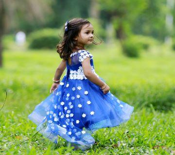 Blue cherry Blossoms Designer Gown For Baby Girl