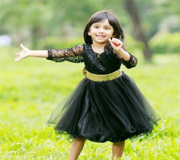 Black seqence bow Designer gown For girls