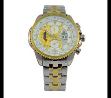 Casio Silver and Golden StainlessSteel Wrist Watch