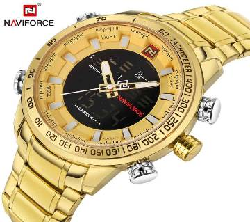 NAVIFORCE NF9093 GOLDEN STAINLESS STEEL DUAL TIME WATCH FOR MEN