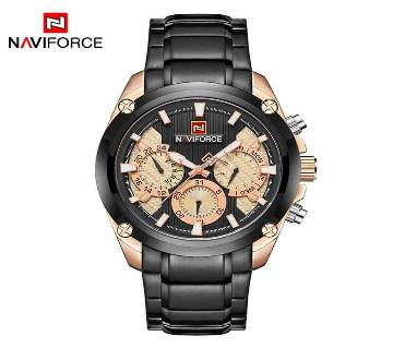 NAVIFORCE NF9113 BLACK & ROSEGOLD STAINLESS STEEL CHRONOGRAPH WATCH FOR MEN