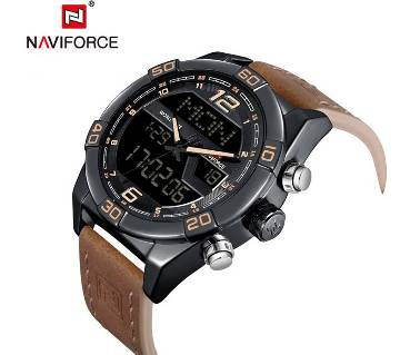 NAVIFORCE NF9128 BLACK PU LEATHER TWO TIME WRIST WATCH FOR MEN-ROSEGOLD