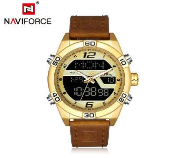 NAVIFORCE NF9128 GOLDEN PU LEATHER TWO TIME WRIST WATCH FOR MEN