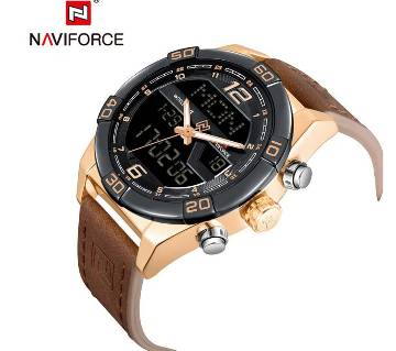 NAVIFORCE NF9128 ROSEGOLD PU LEATHER TWO TIME WRIST WATCH FOR MEN