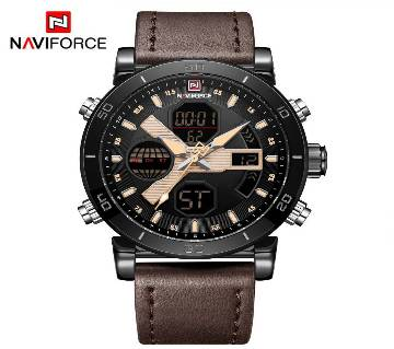 NAVIFORCE NF9132 BROWN  PU LEATHER TWO TIME WRIST WATCH FOR MEN