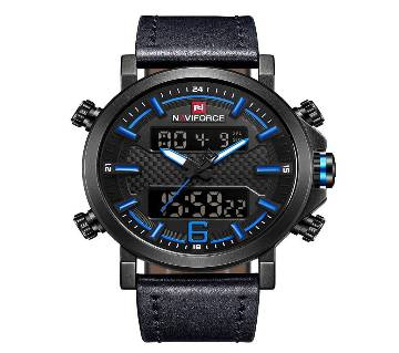 NAVIFORCE NF9135 BLUE  PU LEATHER TWO TIME WRIST WATCH FOR MEN