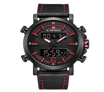 NAVIFORCE NF9135 RED PU LEATHER TWO TIME WRIST WATCH FOR MEN