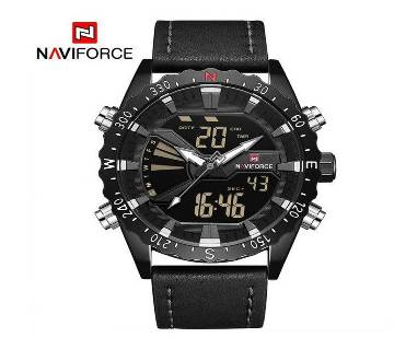 NAVIFORCE NF9136 BLACK PU LEATHER TWO TIME WRIST WATCH FOR MEN