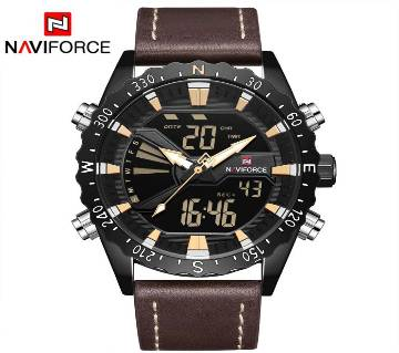 NAVIFORCE NF9136 BROWN PU LEATHER TWO TIME WRIST WATCH FOR MEN