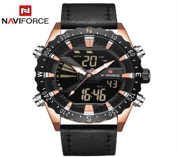 NAVIFORCE NF9136 ROSE GOLD PU LEATHER TWO TIME WRIST WATCH FOR MEN