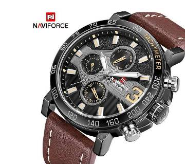 NAVIFORCE NF9137 PU LEATHER CHRONOGRAPH WATCH FOR MEN