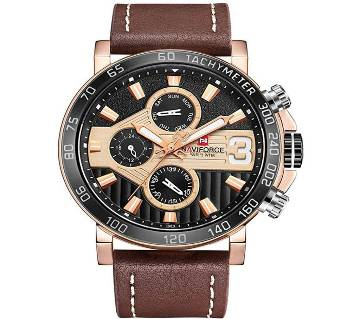 NAVIFORCE NF9137 BROWN PU LEATHER Chronometer WRIST WATCH FOR MEN
