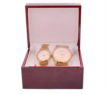 Longbo Golden Analog Watch for Couple