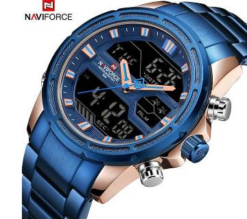 NAVIFORCE NF9138 STAINLESS STEEL DUAL TIME WRIST WATCH FOR MEN - BLUE & ROSE GOLD
