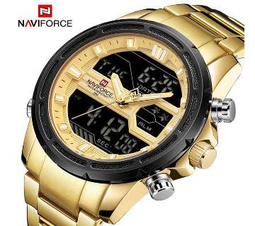 NAVIFORCE NF9138 STAINLESS STEEL DUAL TIME WRIST WATCH FOR MEN - GOLDEN